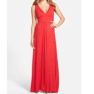 Loveappella Red V-Neck Jersey Maxi Dress